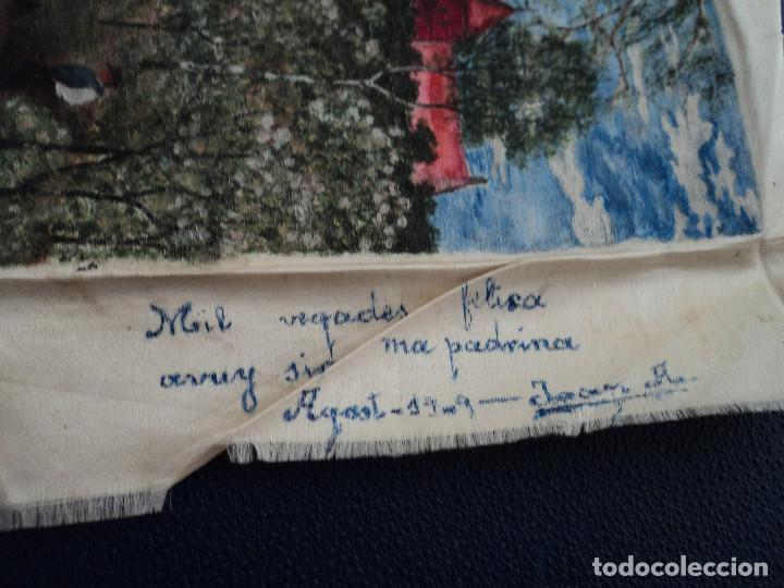 Arte: pintura sobre pañuelo de seda firmado j. arquer fecha ilegible parece 1909 15 x 9,5 cm - Foto 3 - 194207547