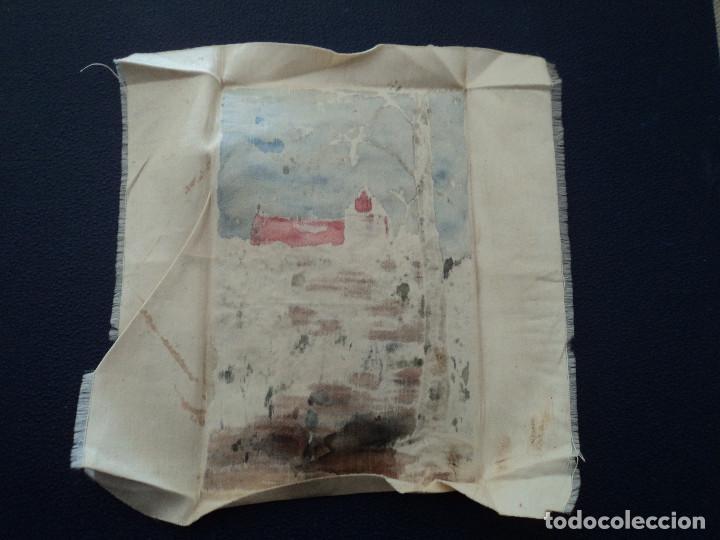 Arte: pintura sobre pañuelo de seda firmado j. arquer fecha ilegible parece 1909 15 x 9,5 cm - Foto 4 - 194207547