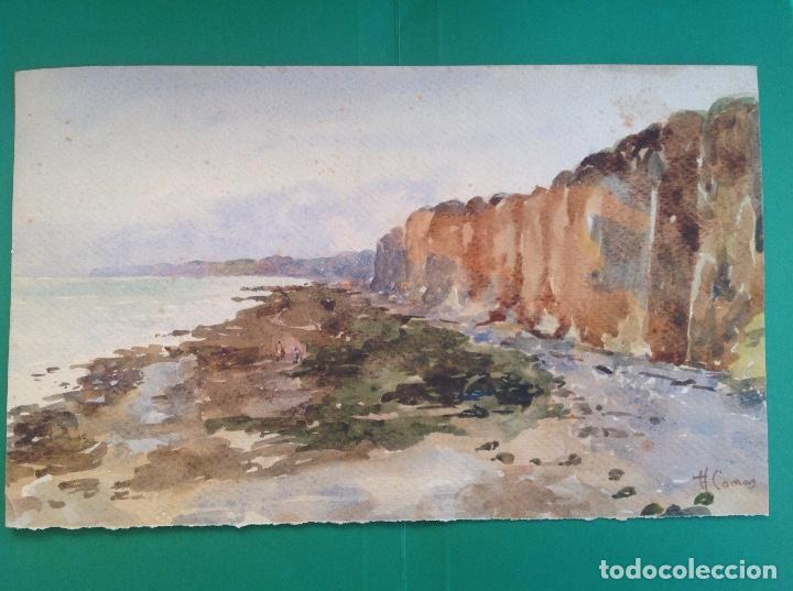 AUGUSTO COMAS. PAISAJE DE COSTA. (Arte - Acuarelas - Modernas siglo XIX)