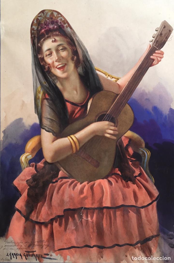 Arte: JULIO GARCÍA GUTIÉRREZ (París, 1882-Barcelona, 1966). Manola 50x49cm - Foto 2 - 194284641