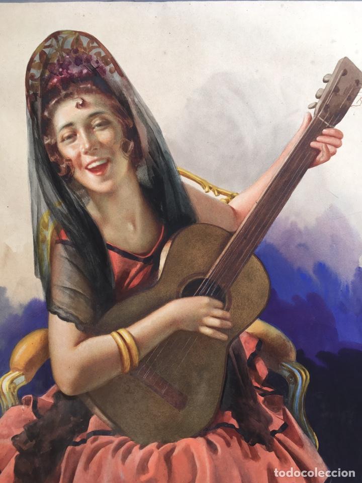 Arte: JULIO GARCÍA GUTIÉRREZ (París, 1882-Barcelona, 1966). Manola 50x49cm - Foto 3 - 194284641