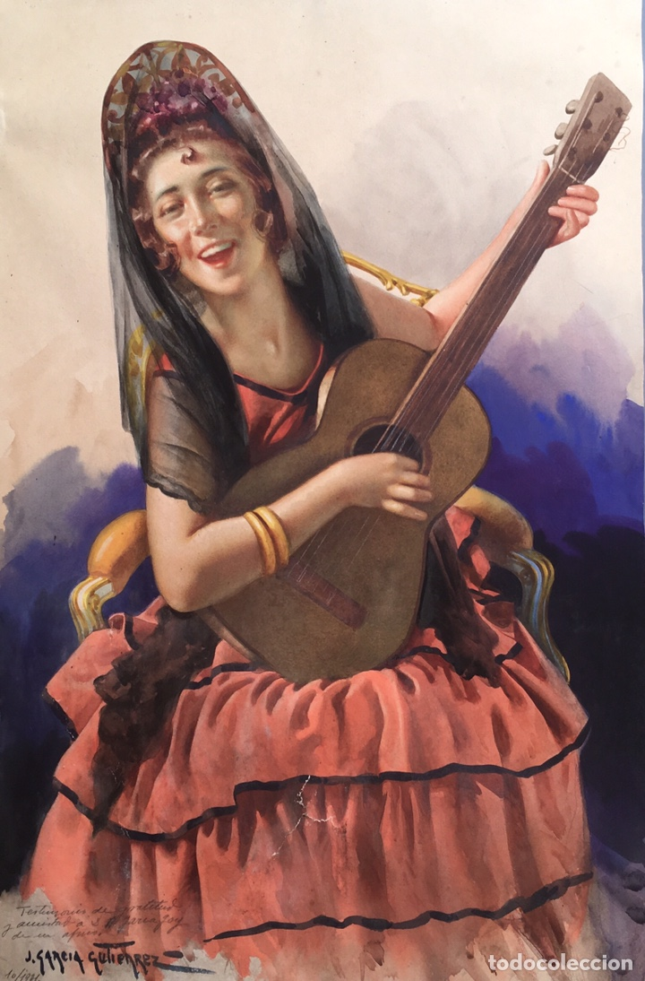 JULIO GARCÍA GUTIÉRREZ (PARÍS, 1882-BARCELONA, 1966). MANOLA 50X49CM (Arte - Acuarelas - Modernas siglo XIX)