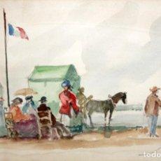 Arte: JUAN MARTORELL (XIVERT, VALENCIA, SIGLO XX) ACUARELA SOBRE PAPEL. PERSONAJES JUNTO A LA PLAYA. Lote 194351288