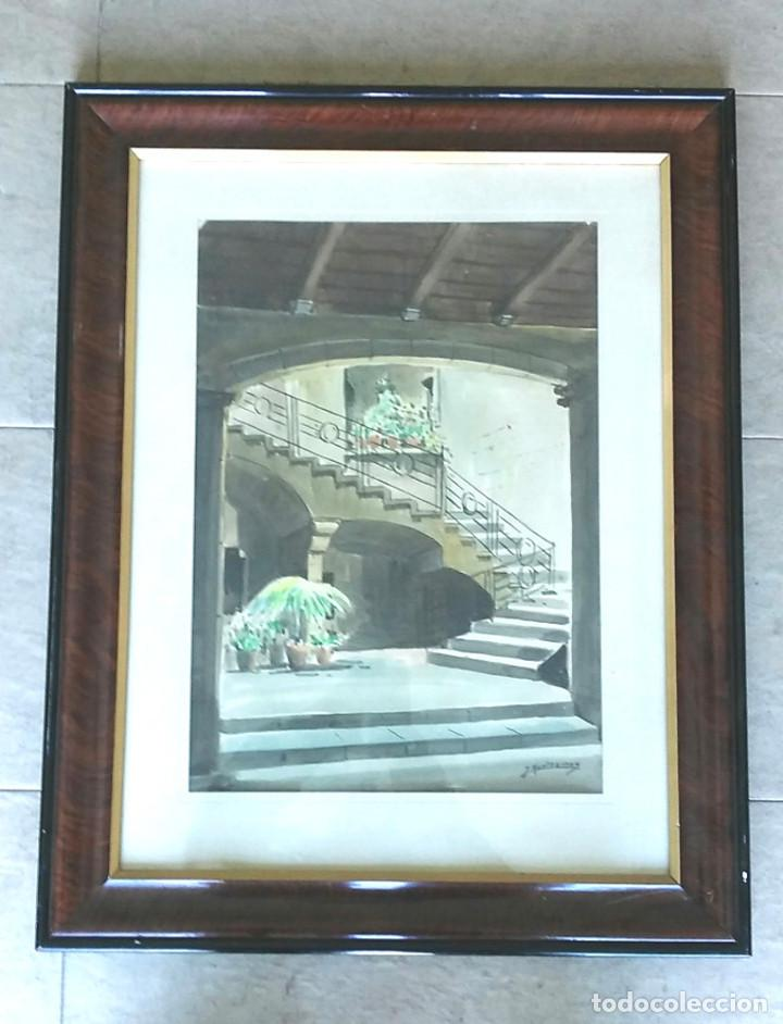 ACUARELA JOSÉ MONTESINOS 1914 - 78, ENTRADA CASA BARRIO GÓTICO BARCELONA. MED. 73 X 58 (Arte - Acuarelas - Contemporáneas siglo XX)