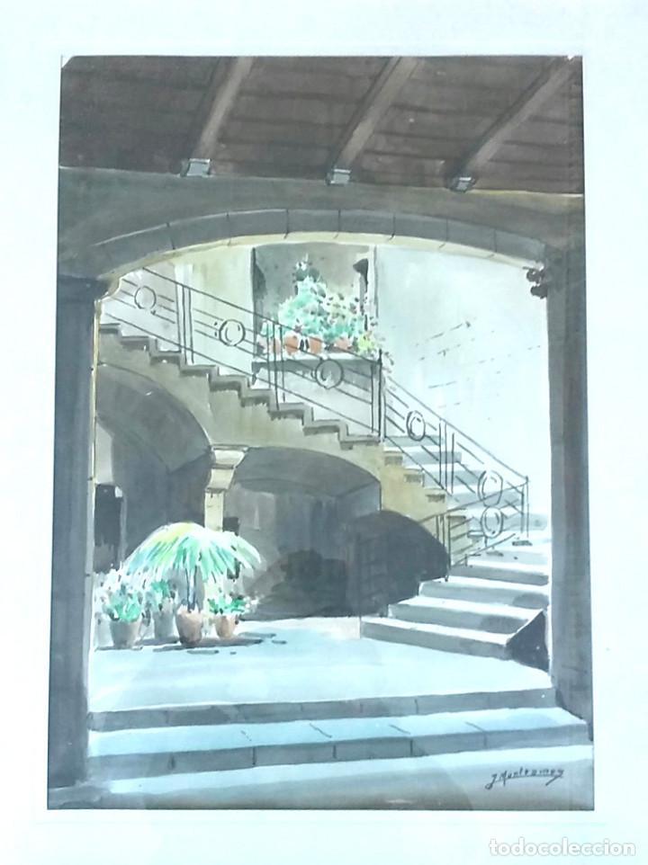 Arte: Acuarela José Montesinos 1914 - 78, Entrada Casa barrio Gótico Barcelona. Med. 73 x 58 - Foto 3 - 194361242