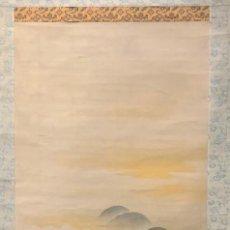 Arte: ROLLO VERTICAL DE PINTURA ASIATICA. NUBES EN TELA Y PAPEL. Lote 194389387