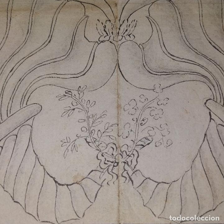 Arte: ORNAMENTOS NEOCLASICOS. ACUARELA Y TINTA SOBRE PAPEL. ESPAÑA. FIN XVIII - Foto 8 - 181019160