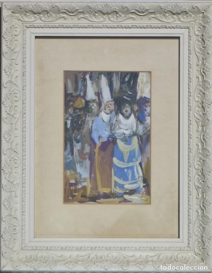 GUASCH ORIGINAL - PROCESIÓN- DE MANUEL FERNÁNDEZ LUQUE (ÉCIJA 1919 - VALENCIA 2005) (Arte - Acuarelas - Contemporáneas siglo XX)