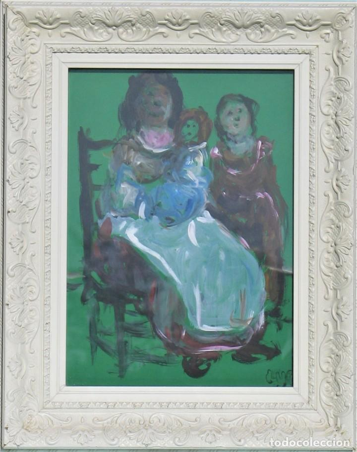 ACUARELA ORIGINAL - MADRE CON HIJOS - DE MANUEL FERNÁNDEZ LUQUE (ÉCIJA 1919 - VALENCIA 2005) (Arte - Acuarelas - Contemporáneas siglo XX)