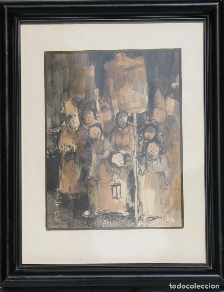GUASCH ORIGINAL -LA PROCESIÓN- DE MANUEL FERNÁNDEZ LUQUE (ÉCIJA 1919 - VALENCIA 2005) (Arte - Acuarelas - Contemporáneas siglo XX)