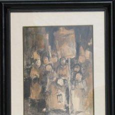 Arte: GUASCH ORIGINAL -LA PROCESIÓN- DE MANUEL FERNÁNDEZ LUQUE (ÉCIJA 1919 - VALENCIA 2005). Lote 194521407