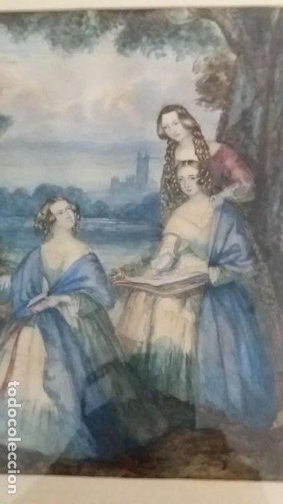 PRECIOSA ACUARELA CREO QUE DE PRINCIPIOS A MEDIADOS S.XIX SIN FIRMA EN MANO MUCHO MEJOR (Arte - Acuarelas - Modernas siglo XIX)