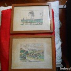 Arte: DOS CUADROS ACUAELAS . Lote 194549310