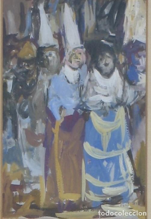Arte: Guasch original - procesión- de Manuel Fernández LUQUE (Écija 1919 - Valencia 2005) - Foto 2 - 194520416