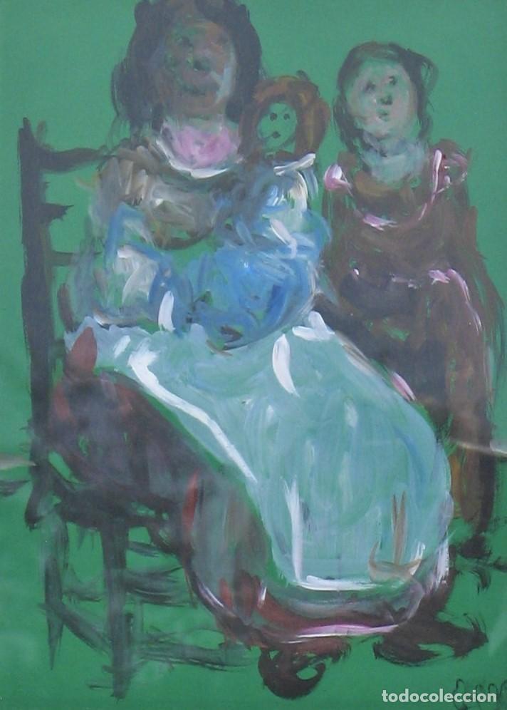 Arte: Acuarela original - Madre con hijos - de Manuel Fernández LUQUE (Écija 1919 - Valencia 2005) - Foto 2 - 194520835