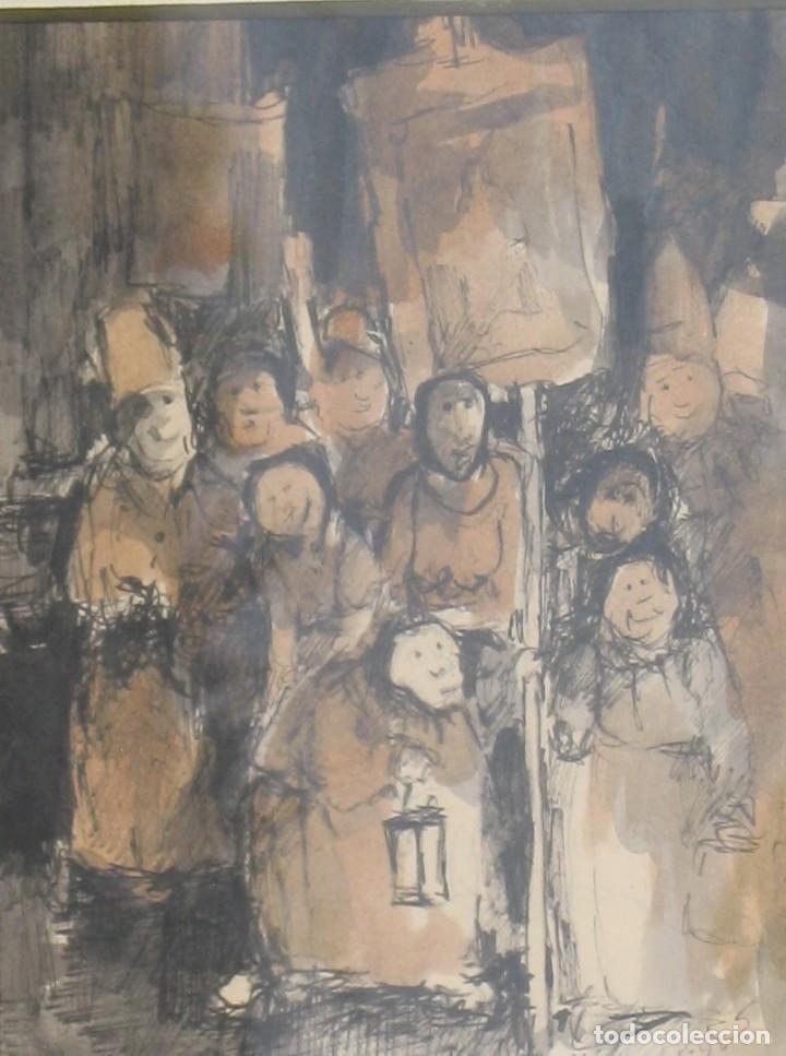 Arte: Guasch original -La procesión- de Manuel Fernández LUQUE (Écija 1919 - Valencia 2005) - Foto 2 - 194521407