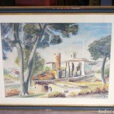 Arte: OBRA ACUARELA PAISAJE SANT PERE DE RIBES (BARCELONA), FIRMADA LUMBRERAS, 1966.100X80CM.. Lote 194574130