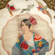 Arte: CHICA ANDALUZA CON MANTÓN - ACUARELA - ART DECÓ -. Lote 194597395