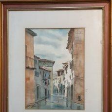 Arte: LAHOZ. ACUARELA DE VALDERROBRES (TERUEL). Lote 194619927