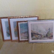Arte: LOTE DE CUATRO ACUARELAS ENMARCADAS, PAISAJES, FIRMADAS, ENMARCADAS CON CRISTAL, UNOS 56 X 47 CMS.. Lote 194655140
