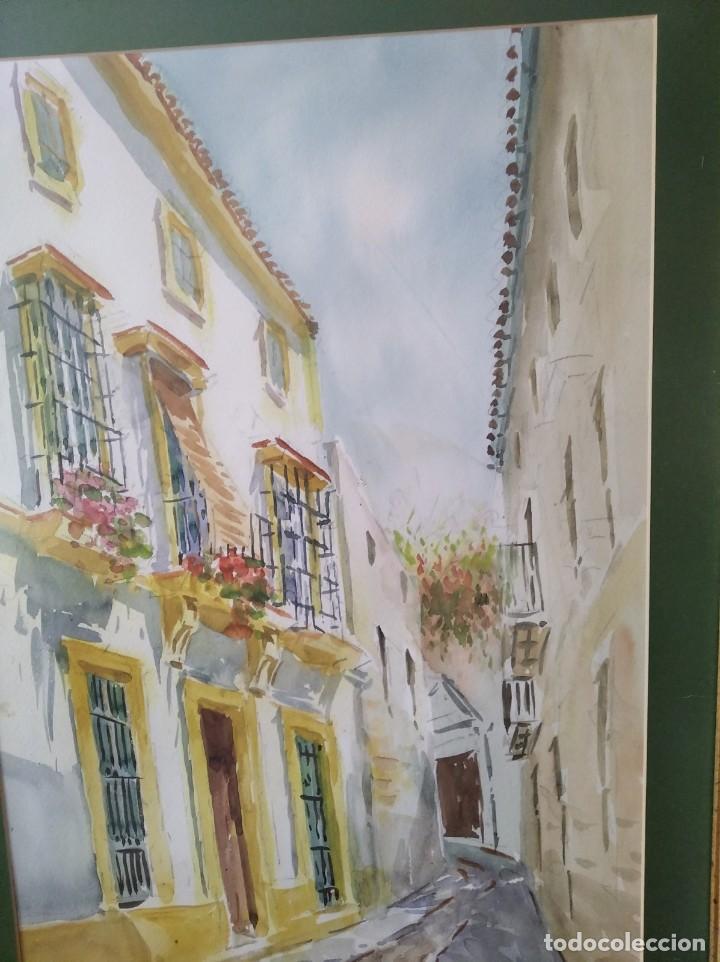 Arte: GREGORIO ABALOS. ACUARELA DE UNA CALLE DE PUEBLO. MIDE CON MARCO 87X60. - Foto 2 - 194741802