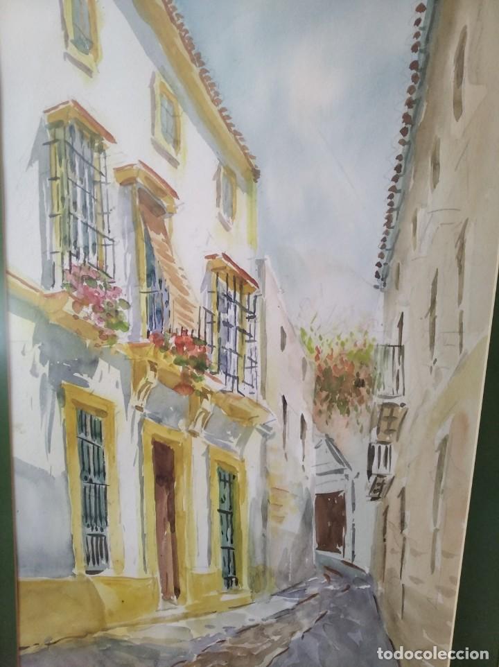Arte: GREGORIO ABALOS. ACUARELA DE UNA CALLE DE PUEBLO. MIDE CON MARCO 87X60. - Foto 3 - 194741802