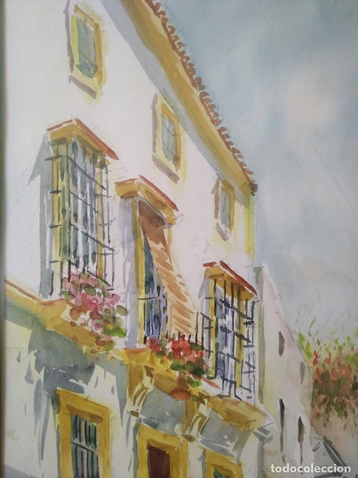 Arte: GREGORIO ABALOS. ACUARELA DE UNA CALLE DE PUEBLO. MIDE CON MARCO 87X60. - Foto 6 - 194741802