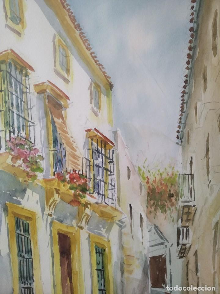 Arte: GREGORIO ABALOS. ACUARELA DE UNA CALLE DE PUEBLO. MIDE CON MARCO 87X60. - Foto 7 - 194741802
