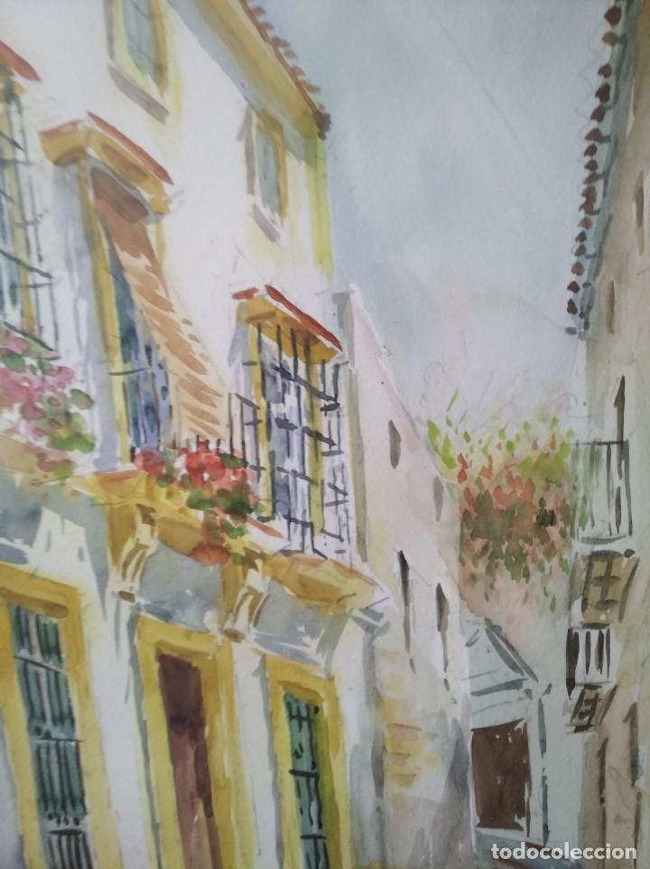 Arte: GREGORIO ABALOS. ACUARELA DE UNA CALLE DE PUEBLO. MIDE CON MARCO 87X60. - Foto 10 - 194741802