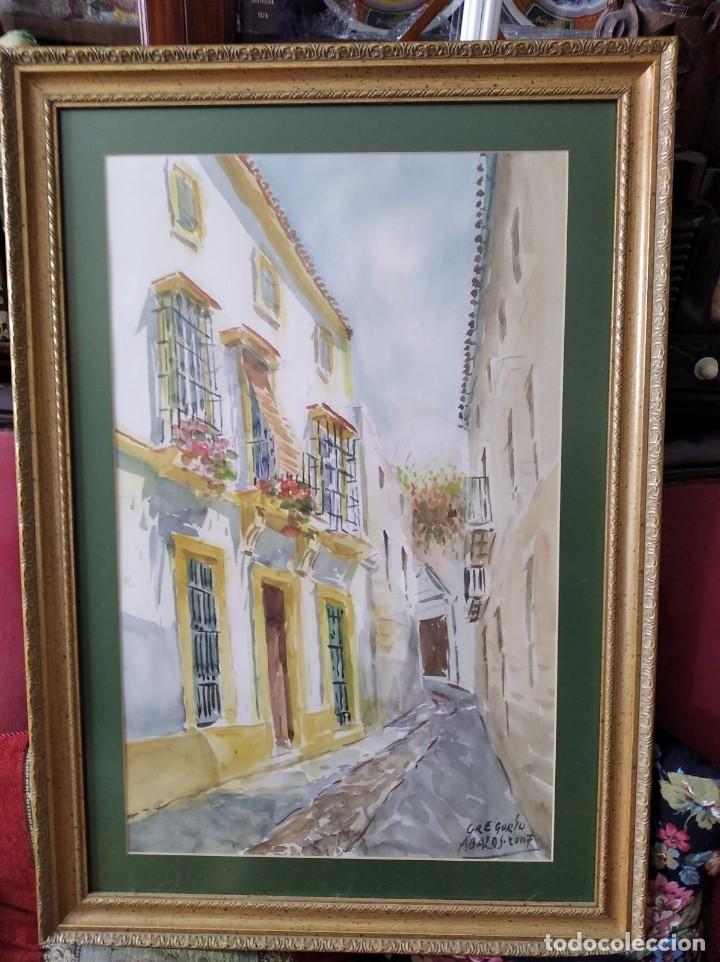 Arte: GREGORIO ABALOS. ACUARELA DE UNA CALLE DE PUEBLO. MIDE CON MARCO 87X60. - Foto 11 - 194741802
