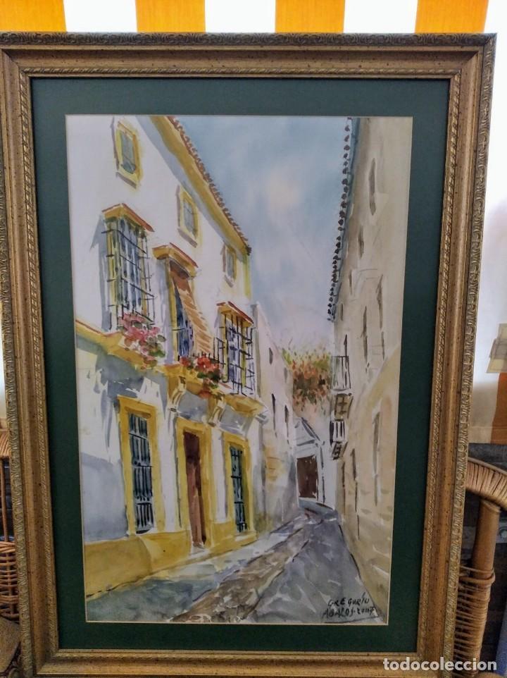 GREGORIO ABALOS. ACUARELA DE UNA CALLE DE PUEBLO. MIDE CON MARCO 87X60. (Arte - Acuarelas - Contemporáneas siglo XX)