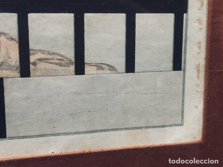 Arte: ANTIGUA ACUARELA DIBUJO CHINA AGUADA TINTA TIGRE ENJAULADO S XIX 61X51 - Foto 6 - 194750191