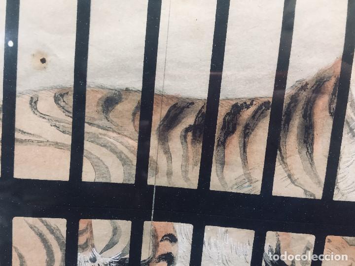 Arte: ANTIGUA ACUARELA DIBUJO CHINA AGUADA TINTA TIGRE ENJAULADO S XIX 61X51 - Foto 12 - 194750191