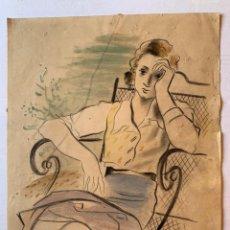 Arte: EVARIST MORA - MUJER PENSATIVA. Lote 194866376