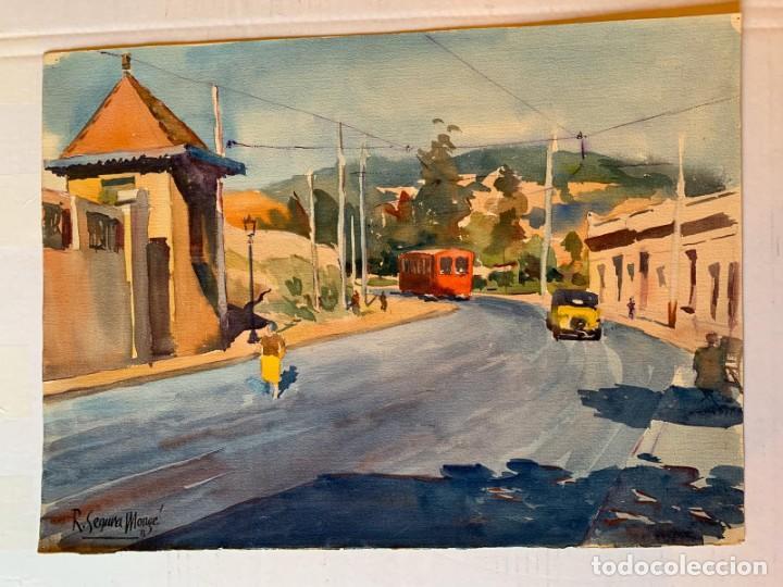 ROBERTO SEGURA MONGÉ - PAISAJE URBANO (Arte - Acuarelas - Contemporáneas siglo XX)