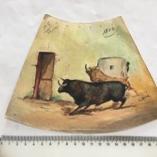 Arte: TOROS EN EL TORIL. ACUARELA. AUTOR C. MIRO.. Lote 194944335