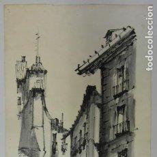 Arte: FIRMA *ROMANO* LOTE 2 ESCENAS MADRID DIFERENTES. TINTA NEGRA / PAPEL. MEDS: 61X32 CMS.. Lote 194945740