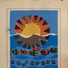 Arte: MORENO ORTEGA (MÁLAGA 1931), PRECIOSO BOCETO PARA CARTEL AÑOS 60, FIRMADO MORENNO.. Lote 194960140