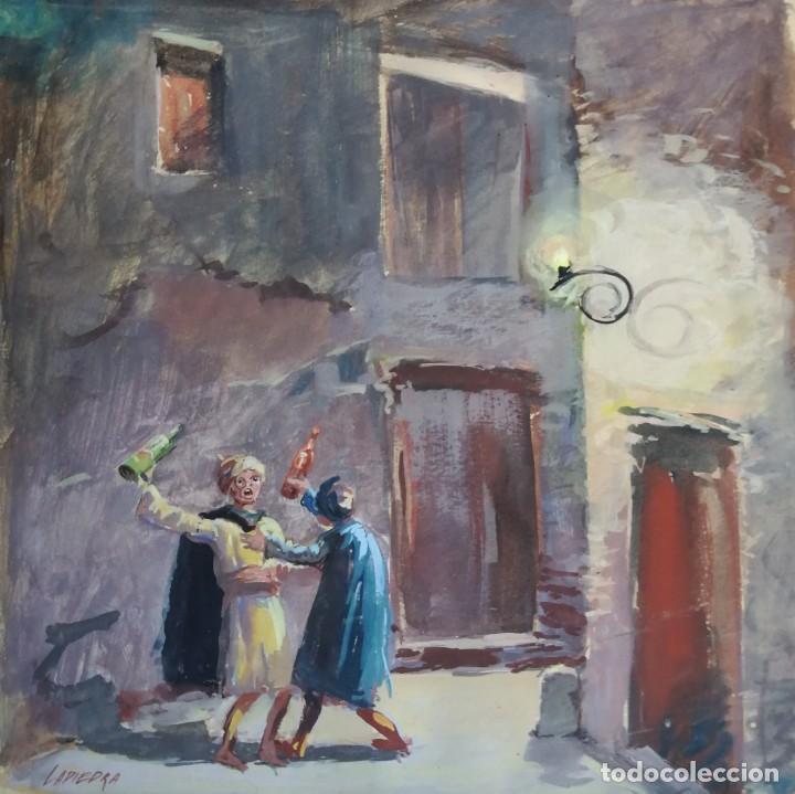 BORRACHOS. DIBUJO PINTADO A ACUARELA. FIRMADO PINTOR LAPIEDRA. (Arte - Acuarelas - Contemporáneas siglo XX)