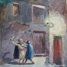 Arte: BORRACHOS. DIBUJO PINTADO A ACUARELA.. Lote 195010833