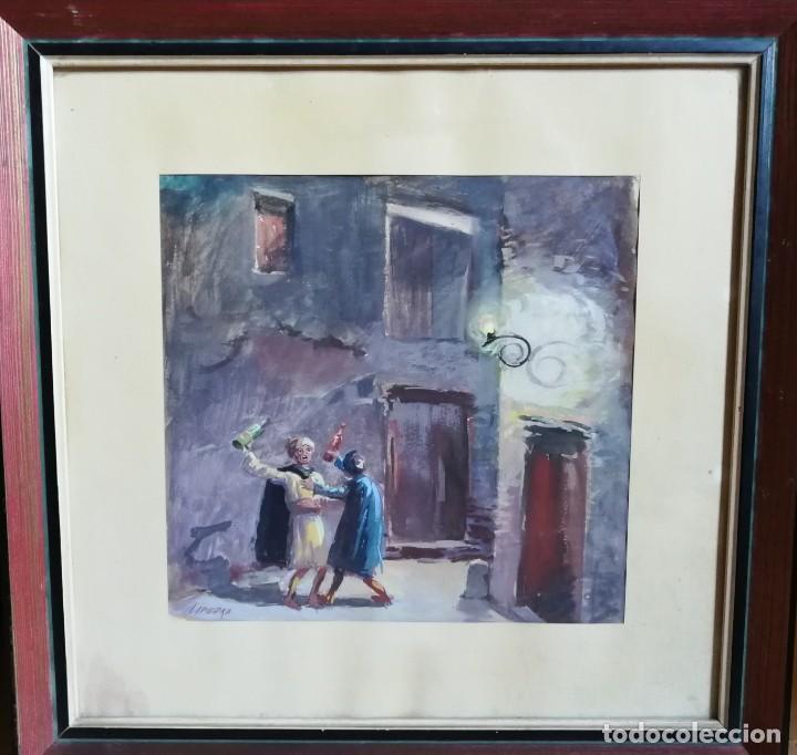 Arte: Borrachos. Dibujo pintado a acuarela. Firmado pintor Lapiedra. - Foto 2 - 195010833