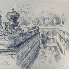 Arte: PLAZA DE LA FONTAINE. ACUARELA SOBRE PAPEL. FIRMADO A. GUERIN. 1942.. Lote 195064178