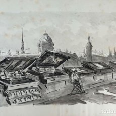 Arte: VISTA DE MONMARTRE. ACUARELA SOBRE PAPEL. FIRMADO A. GUERIN. CIRCA 1940. . Lote 195080110