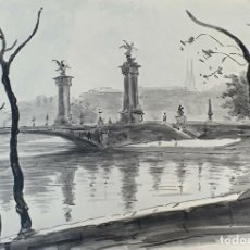 Arte: VISTA DE PUENTE. ACUARELA SOBRE PAPEL. FIRMADO A. GUERIN. CIRCA 1940. . Lote 195081212