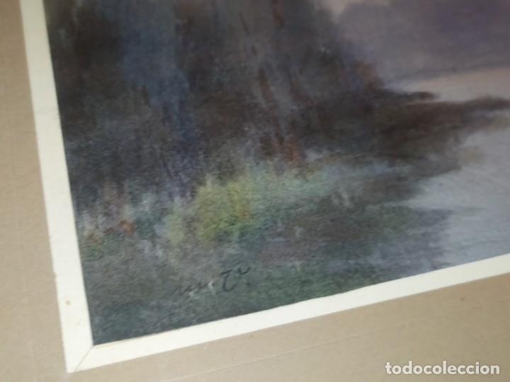 Arte: LOTE DOS ACUARELAS? FIRMADAS M V ANTIGUAS ENMARCADAS CRISTAL PRECIOSAS - Foto 5 - 195152178