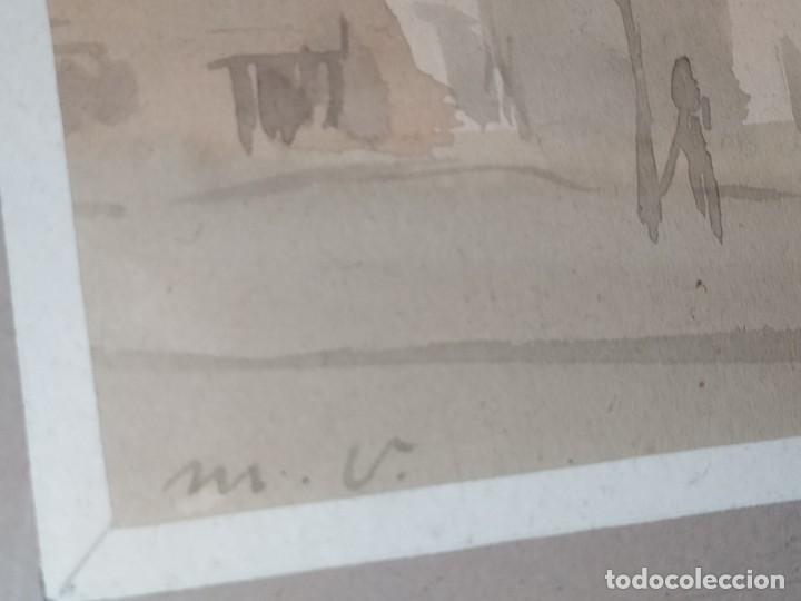 Arte: LOTE DOS ACUARELAS? FIRMADAS M V ANTIGUAS ENMARCADAS CRISTAL PRECIOSAS - Foto 18 - 195152178