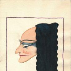 Arte: CARICATURA A LA ACUARELA FIRMADA BELLIDO, GENTE DE TEATRO APROX. 1940.. Lote 195165432