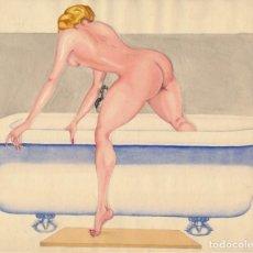 Arte: ACUARELA DESNUDO FEMENINO CON BAÑERA. APROX. 1940. FIRMADO BEYI.. Lote 195167400