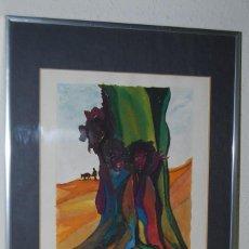 Arte: ACUARELA SOBRE PAPEL - JESÚS GUTIERREZ - JUNTO O COMPENDIO - GRUPO CEBRA - BRUSELAS - AÑOS 80. Lote 195260068