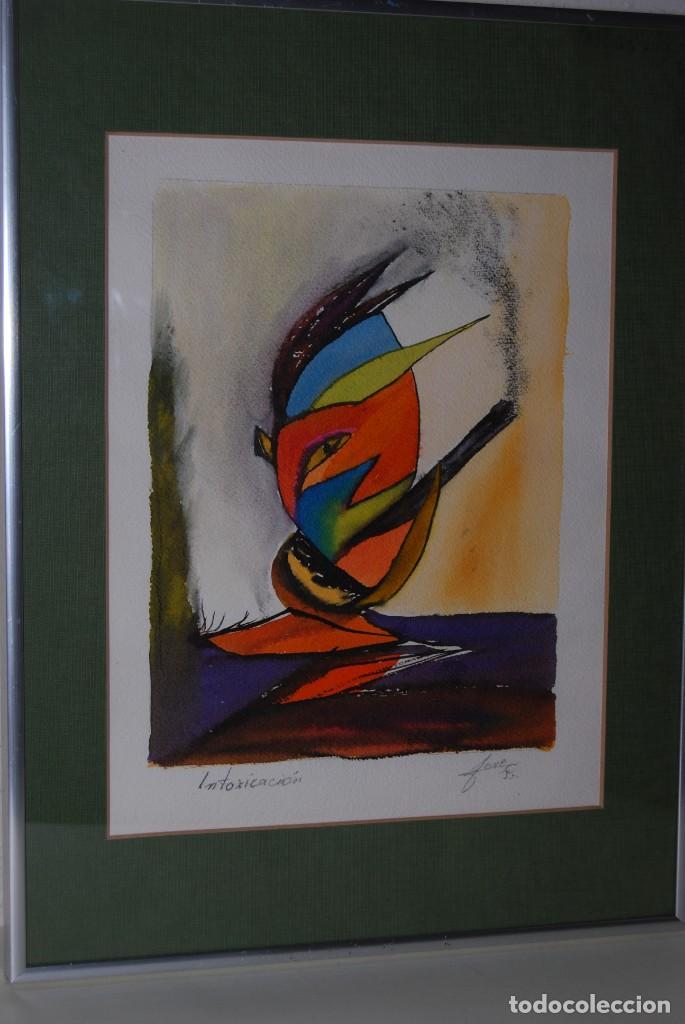 ACUARELA SOBRE PAPEL - JESÚS GUTIERREZ - INTOXICACIÓN - GRUPO CEBRA - BRUSELAS - AÑOS 80 (Arte - Acuarelas - Contemporáneas siglo XX)